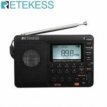 RETEKESS V115 Radio AM FM SW ricevitore Radio tascabile altoparlante FM a onde corte ricevitore a Transistor TF Card registratore USB REC tempo di sonno