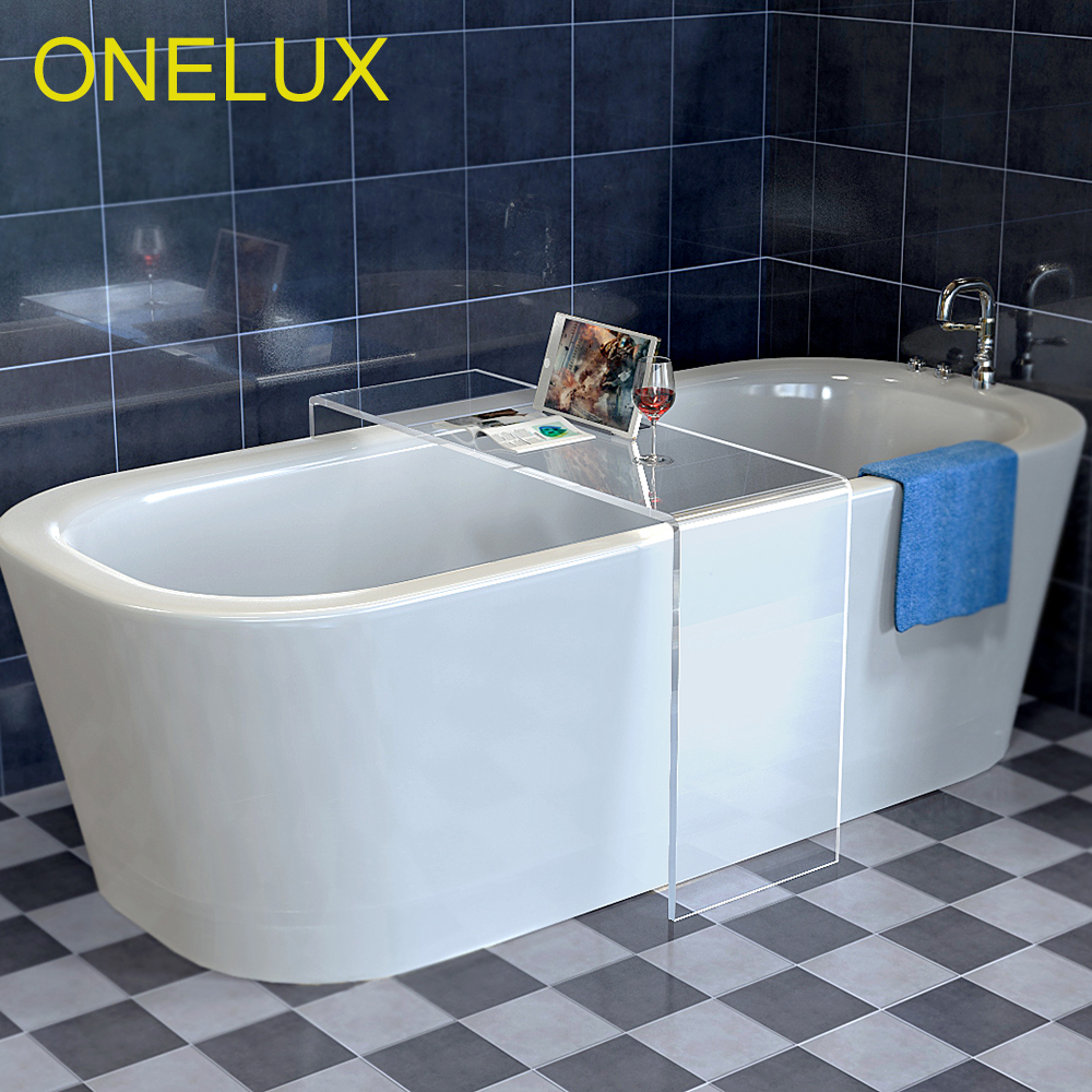 (2pcs/lot)Waterfall Acrylic Bathtub Storage Tray Table,U-Shaped Acrylic Bathroom/ Side/Corner/ Occasional Tables