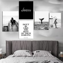Black And White Poster Modern Fashion Wall Art Surf Woman Letter Nordic Canvas Painting Prints Modern Paintings Home Decor