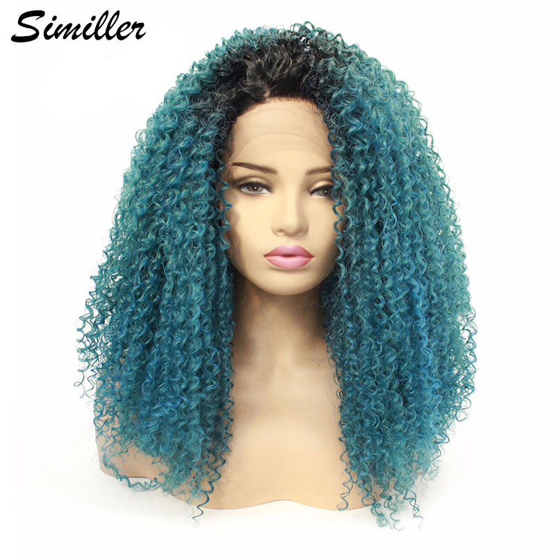 Similler Short Hair Synthetic Lace Front Wigs for Women Kinky Curly Fluffy Lace Wigs with Middle Part Black T Blue Ombre Wig