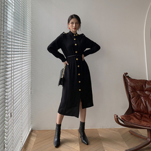 цена на 2019 New Fashion Shirt Dress Gold Button Embellished Solid Black Blue Dress Long Sleeve Irregular Sheath Femme Dress Vestidoes