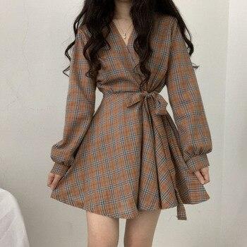 Long Sleeve Dress Women Vintage Palid V-neck Mini Dress Korean High Waist Lace-up Short Dress Preppy Style navy lace up side low cut v neck suede mini dress