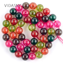 Natural Gem Stone Multicolor Snow Cracked Crystal Beads For Jewelry Making 4 6 8 10 12mm Round Diy Bracelet Necklace 15