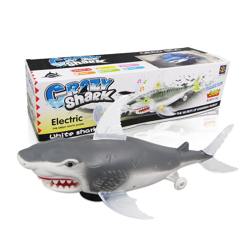 Hot Sales-Model Electric Shark Toy Universal China Mobile Light Included Light Projection Music Toy Stall Hot Selling Toy