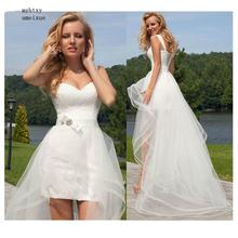 2020 Princess Cheap Lace Wedding Dress Sweetheart Detachable Train Gown Sleeveless Boho Short Skirt Beach Bride Simple Plus Size