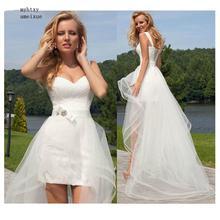 2020 נסיכת זול תחרה חתונה שמלה מתוקה נתיקה רכבת שמלה ללא שרוולים Boho קצר חצאית חוף הכלה פשוט בתוספת גודל