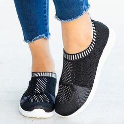 Lucyever malha respirável tênis mulher primavera 2021 salto plano mais tamanho 43 macio inferior sapatos de caminhada mulher de malha mocassins apartamentos