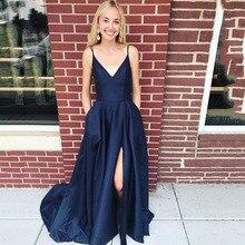 2019 Navy Blue Long Prom Dress Side Slit Simple Sexy 2019 Satin Prom Dress Evening Party Dresses Open Back Robe De Soiree rose print slit back pencil dress