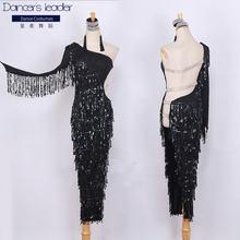 Новый стиль платье для латинских танцев с кисточками и блестками
