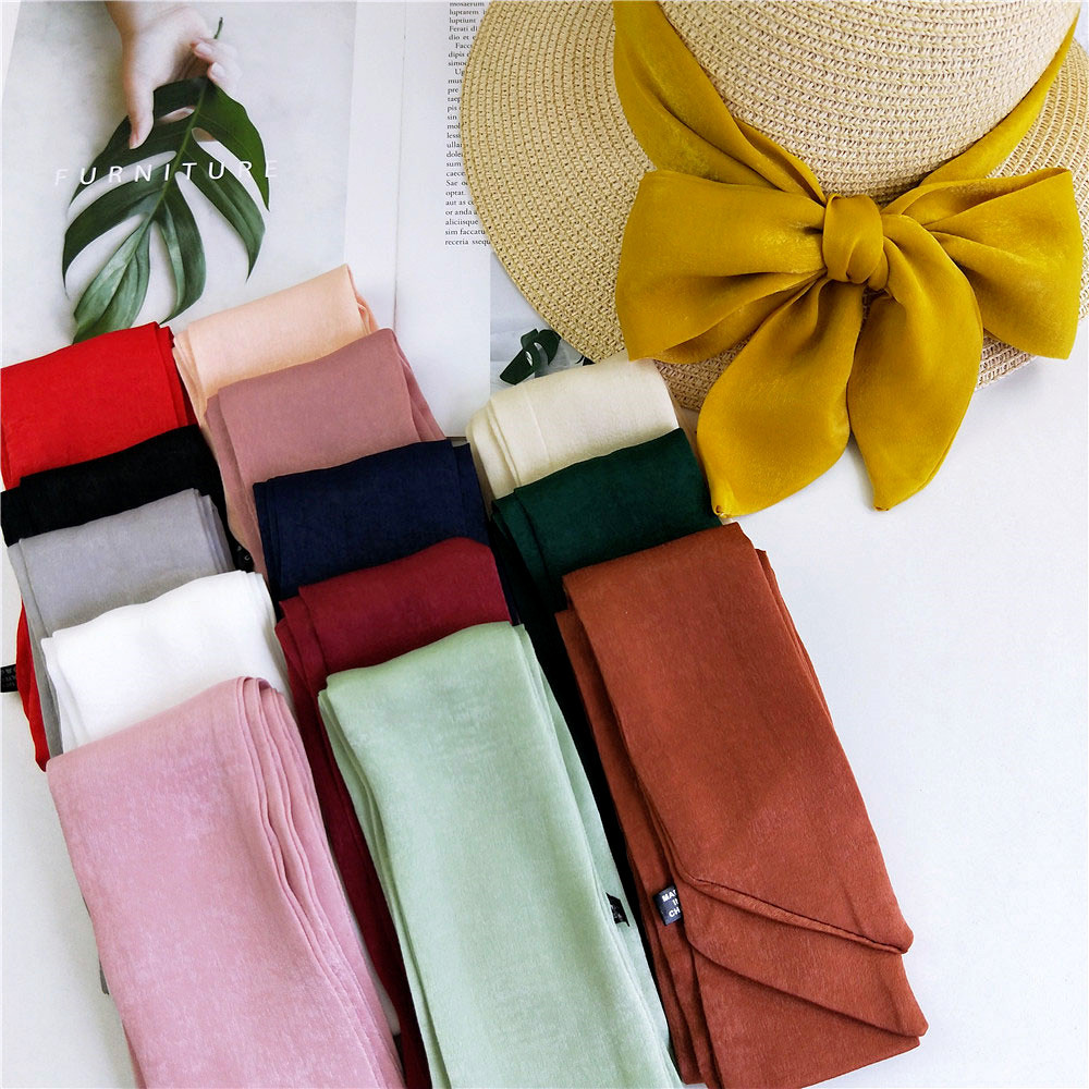 2020 New Elegant Solid Color Red Yellow Pink Green White Black Long Neck Hair Tie Scarf Headband Women Handbag Accesorios Mujer