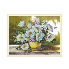 White flower cross stitch kit aida 14ct 11ct count print canvas cross stitches needlework embroidery DIY handmade(China)