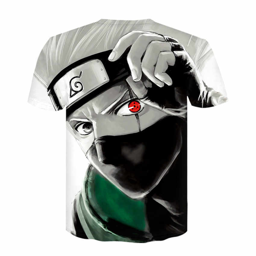 Anime Naruto Kakashi Tshirt Pria Wanita 3D T-shirt Naruto Cosplay Kaus Naruto Kakashi Action Figure Tee Kemeja Atasan