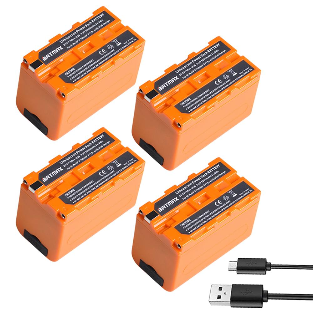 4Pcs 5200mAH USB Output NP-F750 NP F750 F730 F770 Battery LED Power Indicator For Sony NP F960 F970 NP-F770 CCD-TRV58 V1J Z1