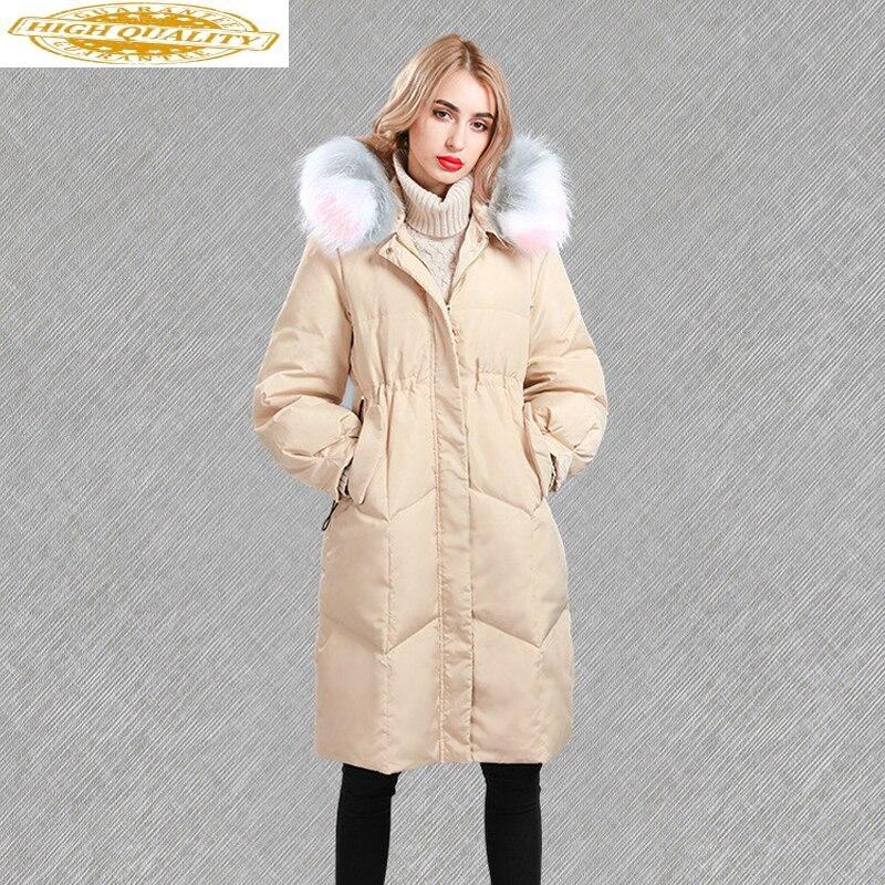 Down Jacket Woman Hooded Racoon Fur Collar Jackets For Women Winter 2020 Long Coat Overcoat Chamarras De Mujer KJ760