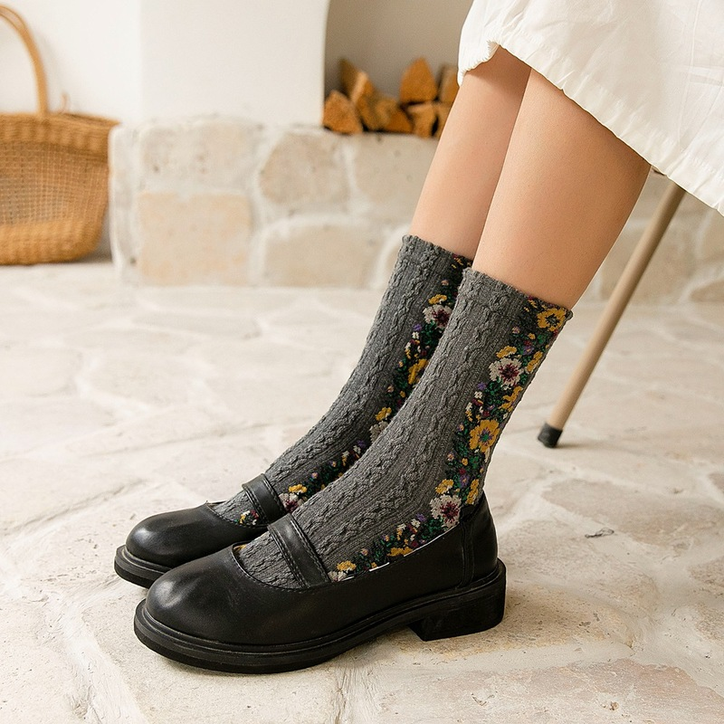 Jeseca Autumn National Style Flower Print Women Socks Harajuku Vintage Sock Female Fashion Winter Warm Christmas Gifts For Girls