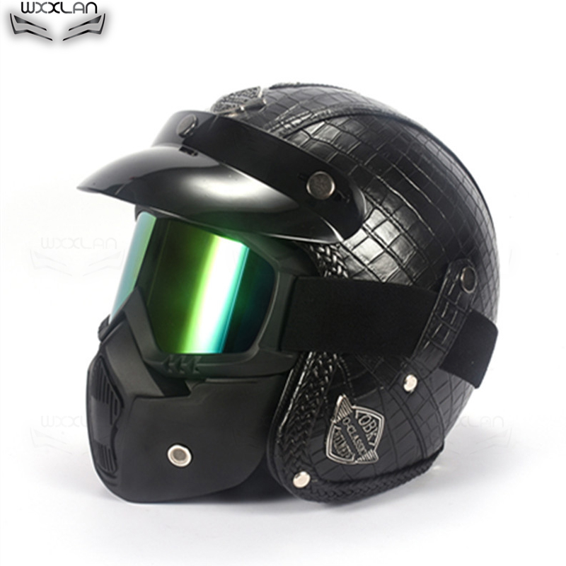 Vintage Harley Motorcycle Motor PU Leather Helmet Open Face For M//L//XL 56-61cm
