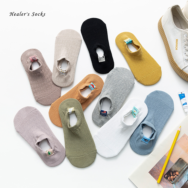 New Buckle Fashion Men and Women Socks Cotton Solid Color Avocado Dog Shoe Whale Harajuku Soft Happy Funny Girls Invisible Socks
