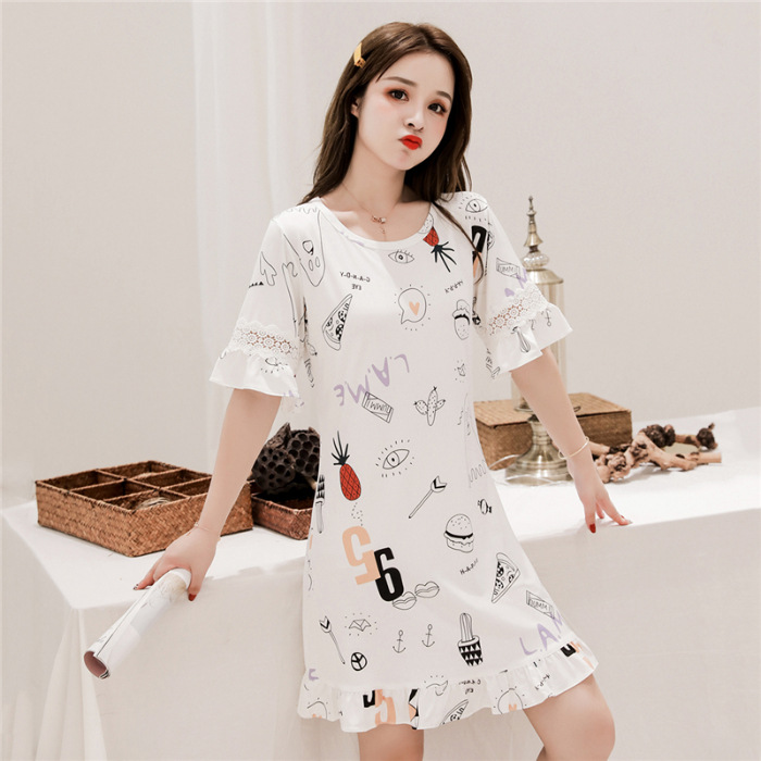 Summer Short Sleeve Pure Cotton Nightgown GIRL'S Sweet Pajamas Summer Cartoon Students Loose-Fit-Outer Wear Women's Home Dress