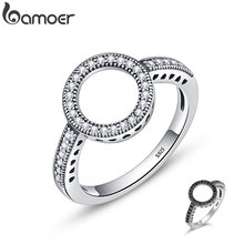 BAMOER натуральная 925 пробы серебро навсегда прозрачный черный круглый фианит круглые кольца на пальцы для женщин ювелирные изделия Рождественский подарок SCR041