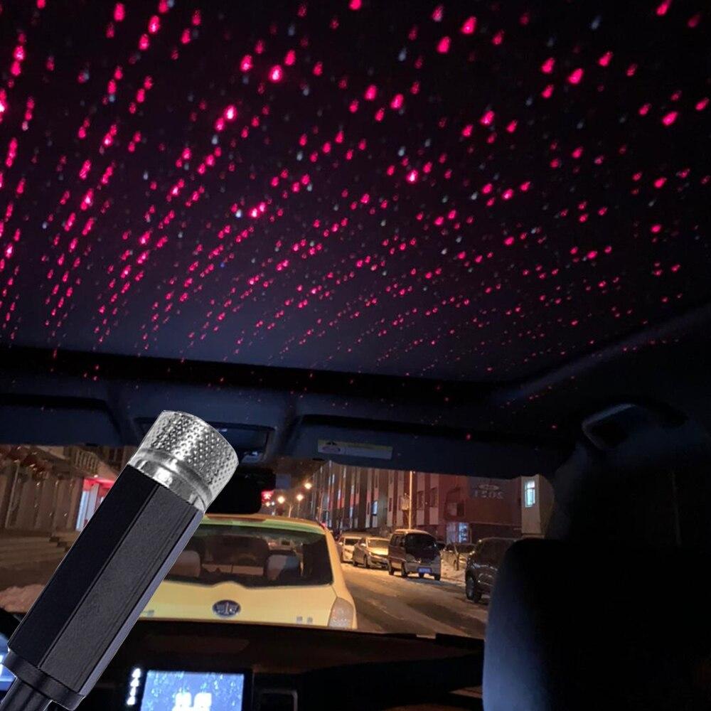 Universal Mini LED Car Roof Star Night Lights Interior Ambient Atmosphere Galaxy Lamp USB Plug Light Decoration Light Q