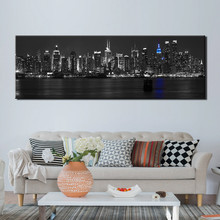 New York City Night Picture Wall Art HD Printed View Landscape Canvas Painting  Pictures for Living Room Posters and Print