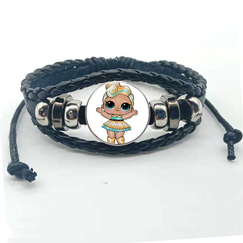 Мультфильм LOL браслет для куклы милый ребенок флэш Кукольное платье принцессы стеклянная кнопка, купол тканый кожаный браслет подарок на день рождения - Окраска металла: black