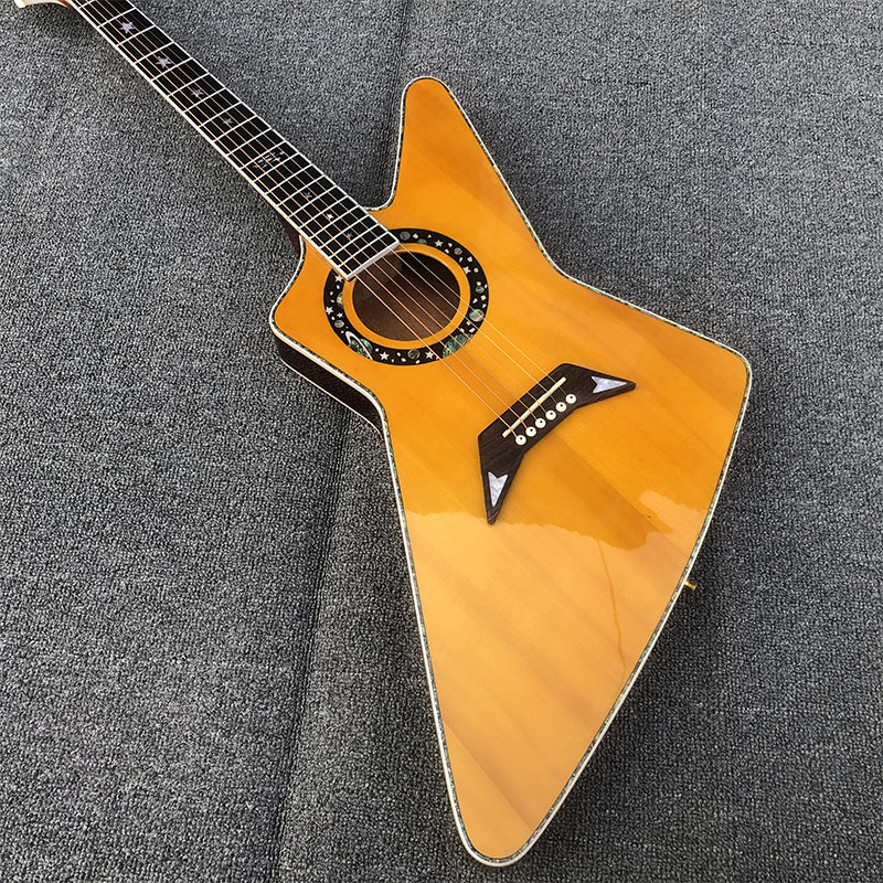 2020 New High Quality Acoustic Guitar,pearl Inlay And Binding Acoustic Guitar Colorized Shell Edge Free Shipping
