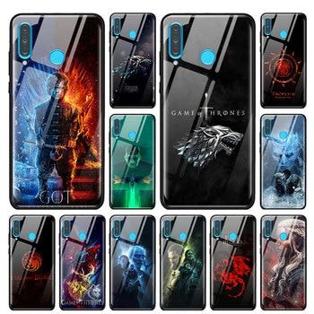 Juego de trono casa funda de vidrio templado para Huawei P30 Pro P10 P20 P30 Lite Mate 10 20 30 Pro Honor 20 Pro 8X 9X cubierta