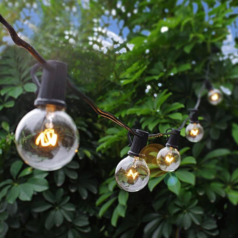 10/25 LED Light String G40 Globe Bulb Fairy Garland Christmas Wedding Outdoor Garden String Lights Decoration