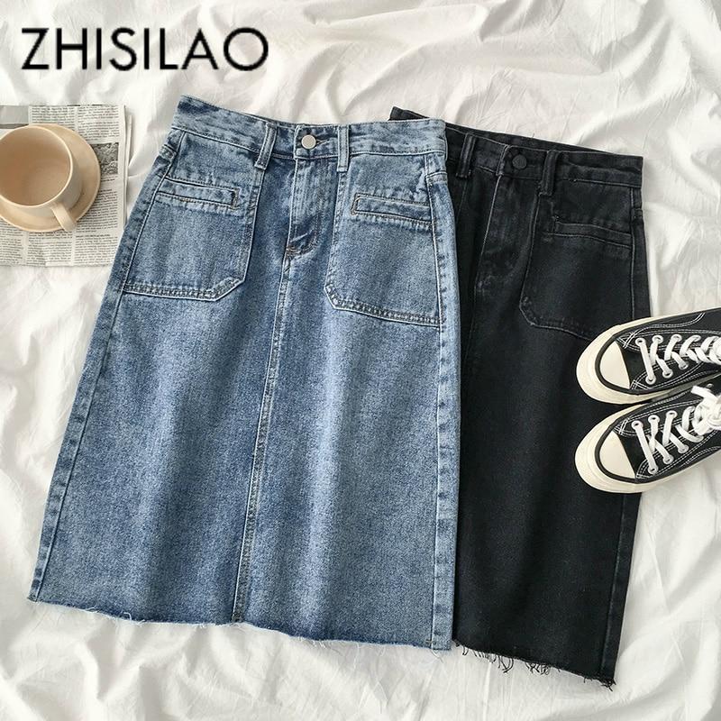 High Waist A-line Denim Skirt Women Pencil Straight Skirt Mujer Vintage Retro Long Black Blue Summer Skirt 2020 Elegant