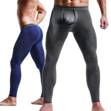 Underwear Leggings Compression-Sweat-Pants Front-Tights Long-Johns Men's New Open Male