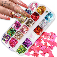 12Grids Fall Nails Glitter Flakes Sequins Maple Leaf Dazzling Mirror Sheet Sticker for Manicure Nail Decor Paillette Tips CHFY-2