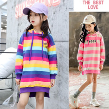 Teen Kids Sweatshirt 2020 Autumn Rainbow Striped Hoodie Casual Sweatshirt for Girls Tops 12 Year Kids Outfits Children Clothes cheap Still Cool Without CN(Origin) Fashion Cotton Fits true to size take your normal size Regular Hoodies Full