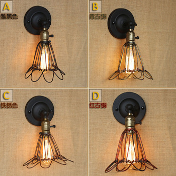 industrial style, wrought iron hardware revolution post-modern decorative wall lamp wire mesh net