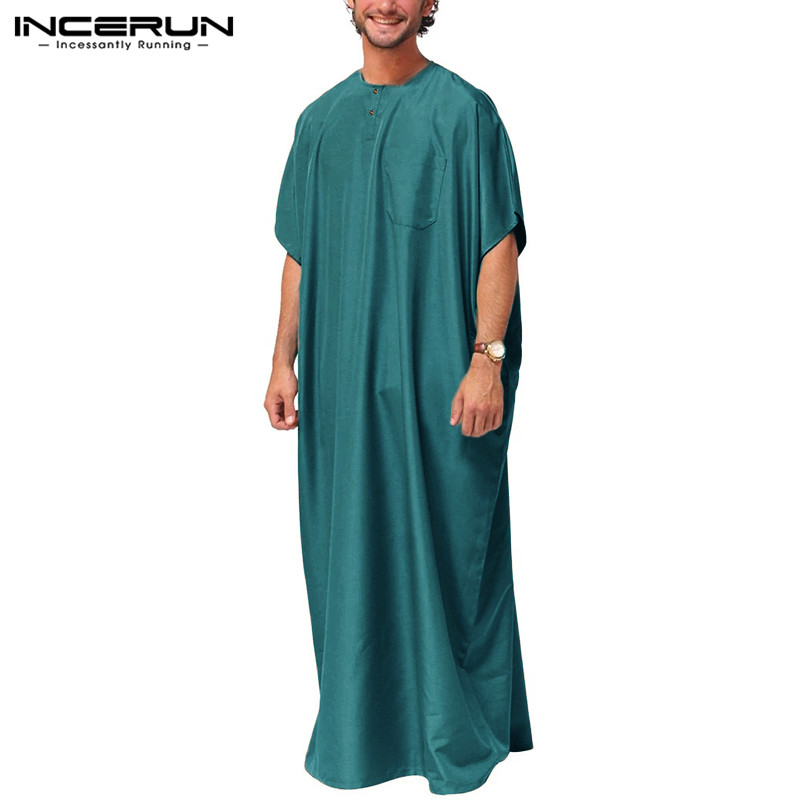INCERUN Jubba Thobe Men Islamic Arabic Kaftan Solid Short Sleeve Loose Vintage Robes Middle East Abaya Muslim Clothing Plus Size