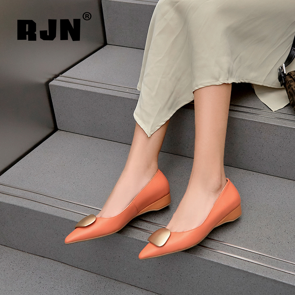 Hot Sale RJN Sexy Pointed Toe Pumps Fashion Applique Strange Style Heel High Quality Cow Leather Slip-On Shallow Shoes Women Pumps RO58