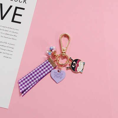 คริสตัลคริสตัลเชอร์รี่พวงกุญแจน่ารักการ์ตูนความรักพวงกุญแจผู้หญิงกระเป๋าแฟชั่นของขวัญพวงกุญแจจี้
