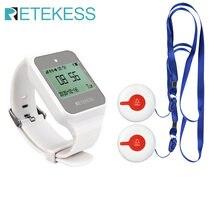 Retekess cuidador pager enfermeira chamando alerta paciente sistema de ajuda 2 botão chamada sem fio + td108 relógio receptor para idosos em casa