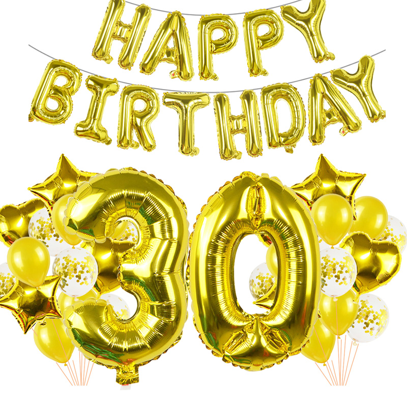 30 40 <font><b>50</b></font> 60 Happy Birthday Decor Supplies 40inch Number Gold Foil Balloon Adult Ceremony Supplies <font><b>Anniversary</b></font> Party Wall Decora image