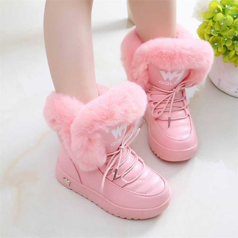 MHYONS Kids Boots Winter Shoes Girls Kids Winter Boots Black Pink Botte Enfant Fille Add Wool Warm Winter Shoes For Students