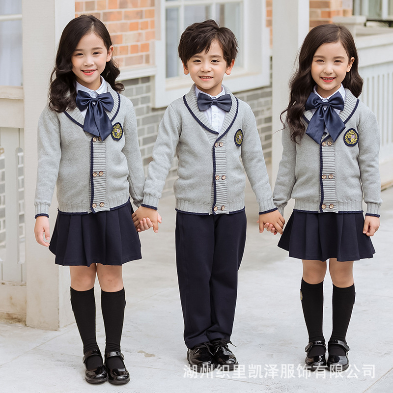 Kindergarten Suit Spring And Autumn Set New Style Pure Cotton Primary School STUDENT'S British-Style School Uniform Children Bus