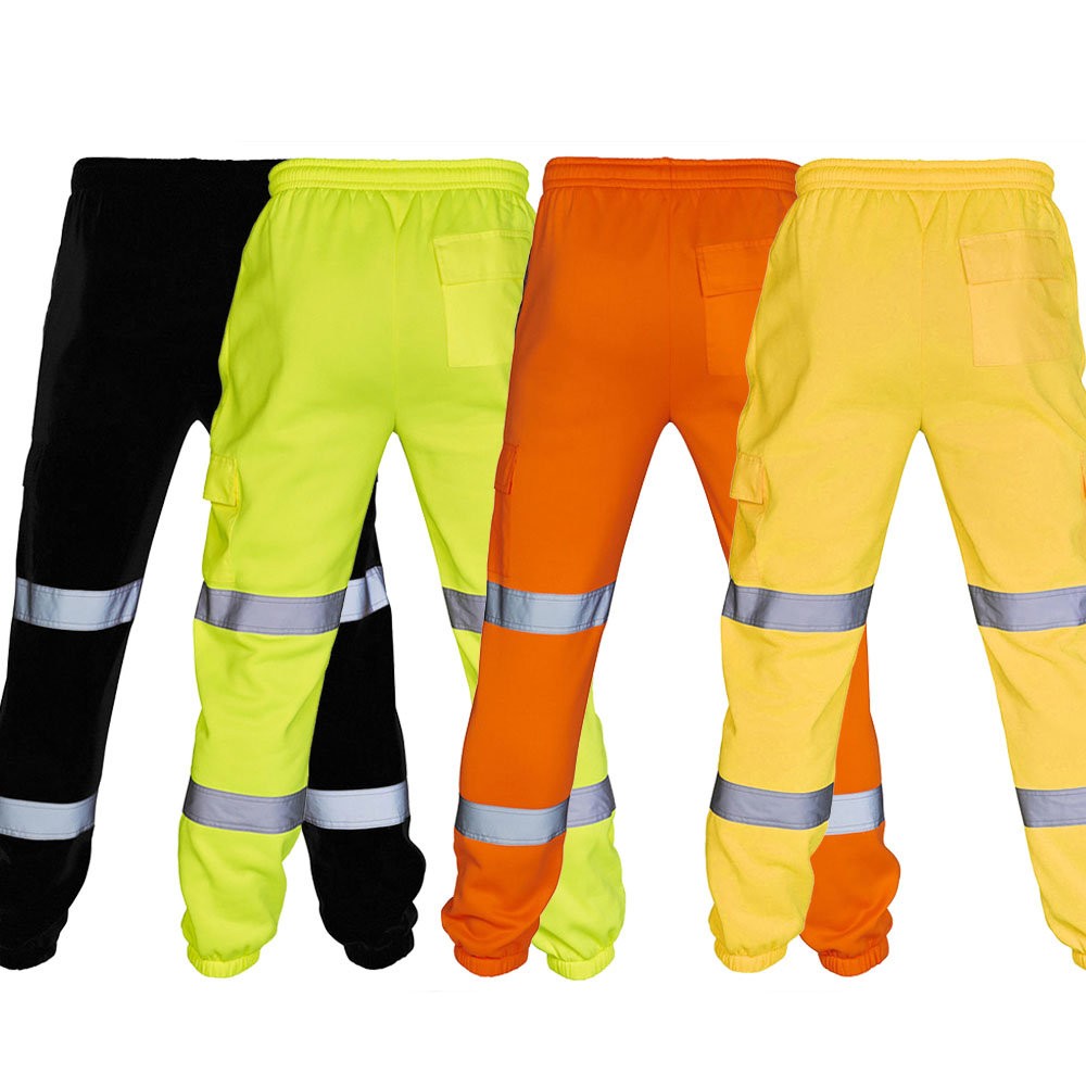 2020 New Reflective Safety Warm Overalls High Visibility Men's Casual Trousers Outdoor Road Work Cargo Pants Running Sport Pants