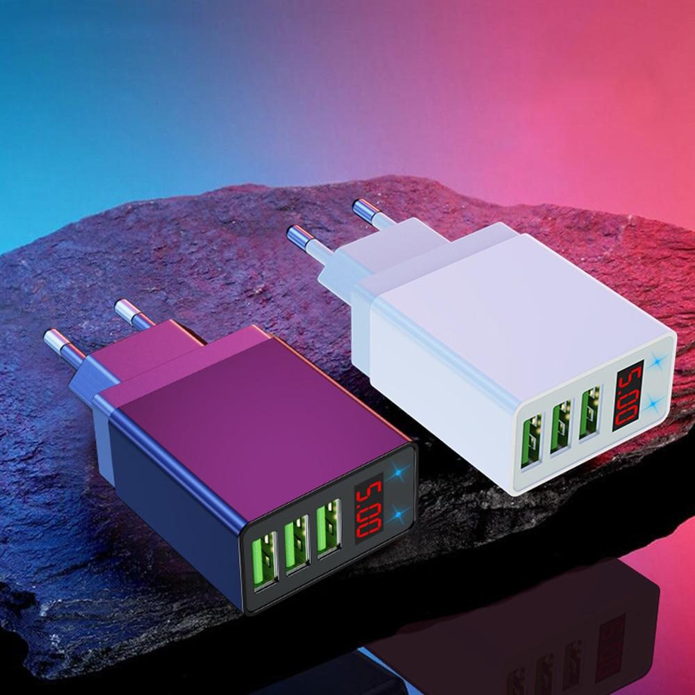 3 USB Multi-port Charger 5v3a Voltage / Current Digital Display Mobile Phone Fast Charging Head Cargador Voltaje 5v3a