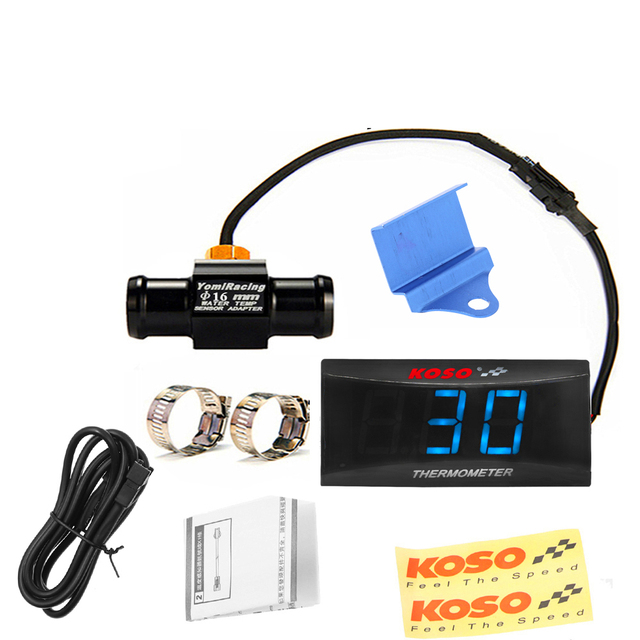 Motorcycle Digital Water Temperature Gauge  KOSO Mini  Moto Thermometer with 0~120 Centigrade Display for XMAX250 NMAX CB 400