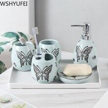 Light luxury ceramic bathroom set Fashion Soap Dispenser Toothbrush Holder Plastic tray Ceramic decoration Bathroom Product