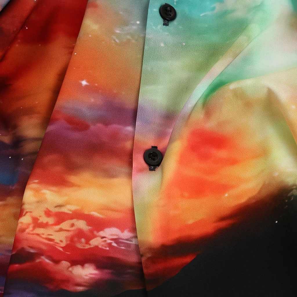 Uomini di modo casual Stampa Manica Lunga 3D Galaxy Gira-giù T Camicette Magliette e camicette Camicette Uomini star Lungo Della Stampa manicotto Allentato della Camicia del Risvolto