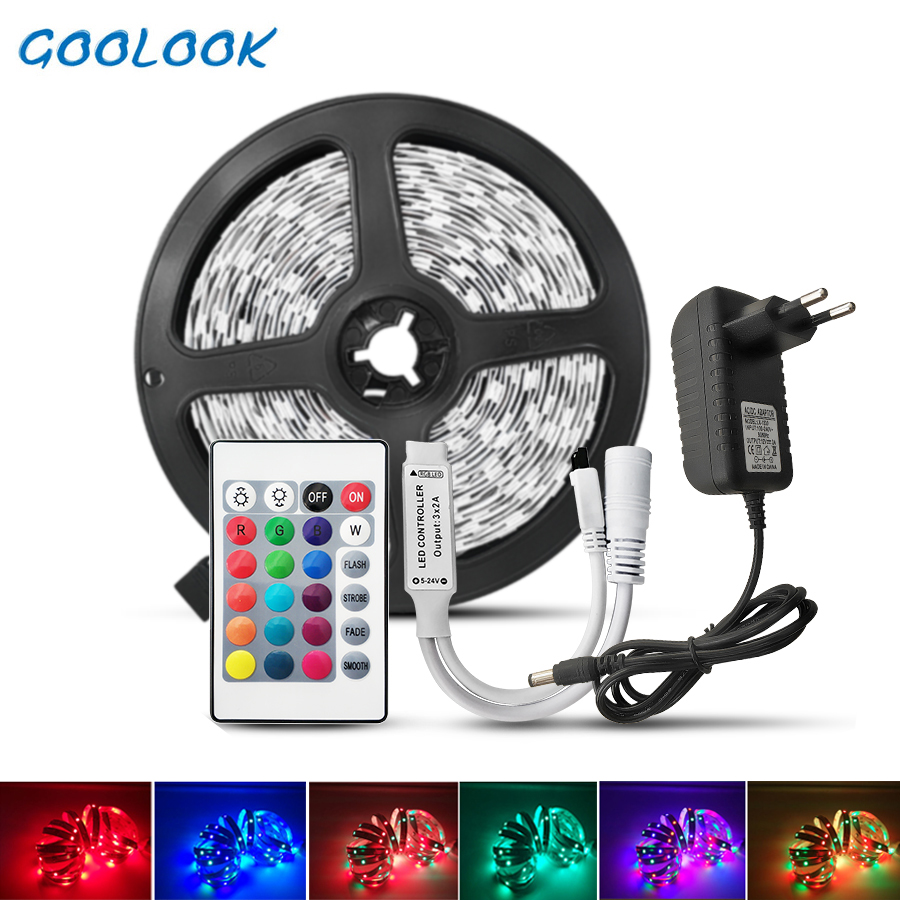 LED Strip Light DC12V RGB Tape Diode Neon Ribbon Tira Fita LEDs 2835 5050 5m,10m Waterproof Flexible Light String With Adapter