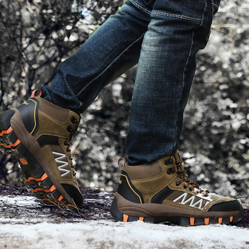 Men Winter Shoes Snow Boots Outdoor Hiking Shoes Keep Warm Casual High Top Boots K-BEST image