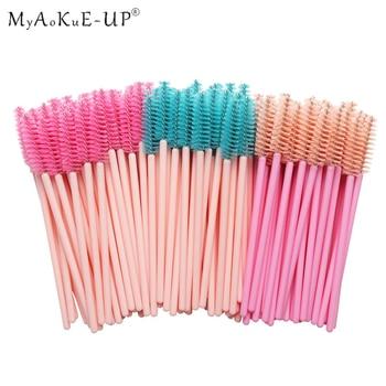 50pcs Rainbow Disposable Eyelash Applicator Wands Curler Eyebrow Brush Set Mascara Eyebrow Spoolers Comb Wands Spoolies Brushes 1
