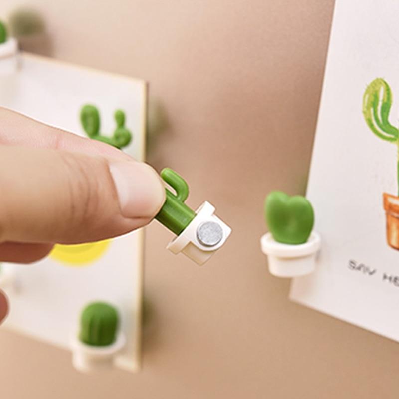 6 шт./компл. 3D милые суккулент доски для записей и напоминание для Кухня холодильник магнит кнопки украшение-кактус аксессуары